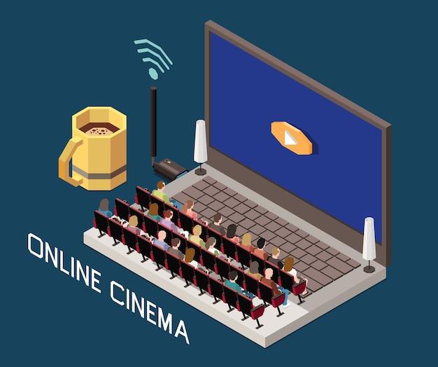 Изометрическая композиция кинотеатра с изображением ноутбука с театральным залом и людьми на сиденьях с текстом