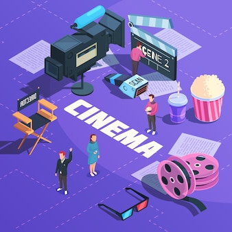Cinema isometric composition