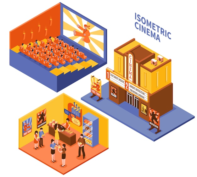 Cinema isometric compositions set