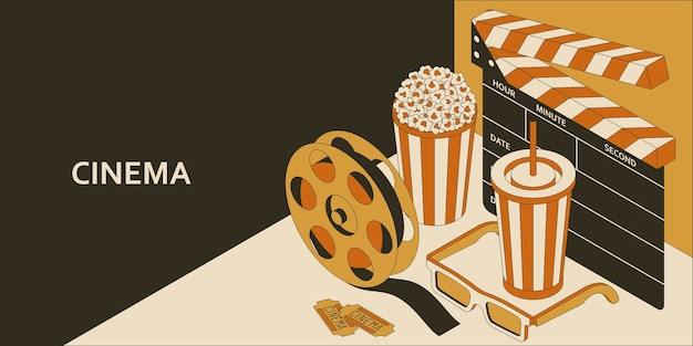Cinema isometric concept with popcorn, drink, clapperboard, glasses and filmstrip