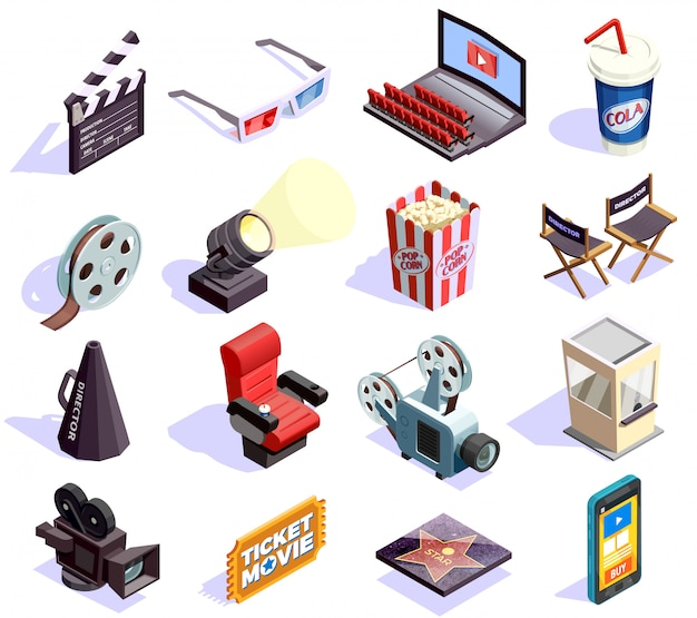 Cinema isometric icons set