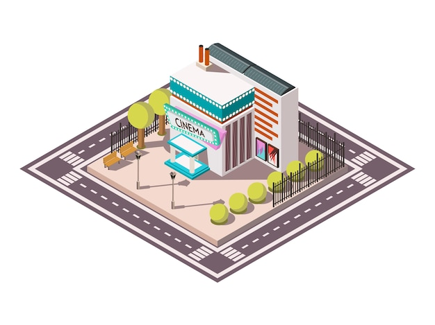 Cinema isometric illsutration