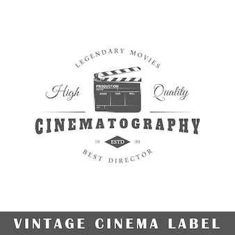 Cinema label isolated on white background.  element. template for logo, signage, branding .