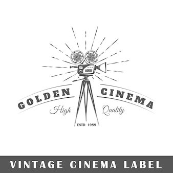 Cinema label  on white background.  element. template for logo, signage, branding .  illustration