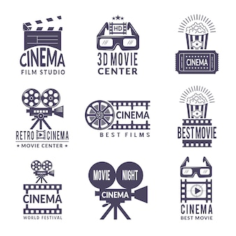 Cinema labels set. badges with black pictures at cinema and video production industry