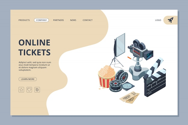 Cinema landing. web page template videography studio equipment cinema production tv show entertainment design