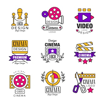 ロゴセットから映画、白い背景の上のレトロなスタイルのイラストのビデオシンボル