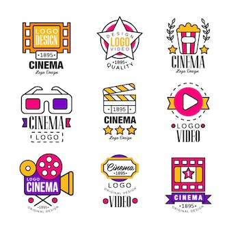 Cinema since logo  set, video symbols in retro retro style  illustrations on a white background