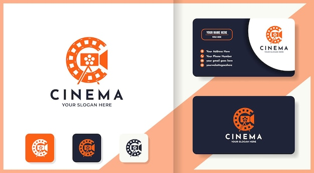 Cinema logo with camera and roll film shape, and business card design