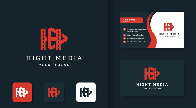 Cinema logo with letter and business card design