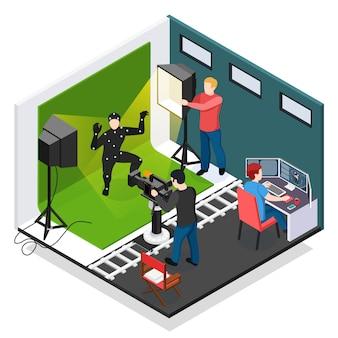 Кинематографическая съемка изометрической композиции с актером-видеографом-осветителем и графическим дизайнером во время работы