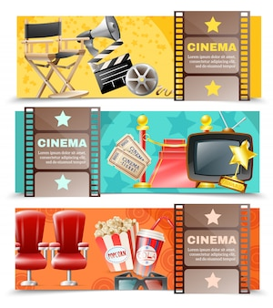 Cinema movie 3 horizontal retro banners