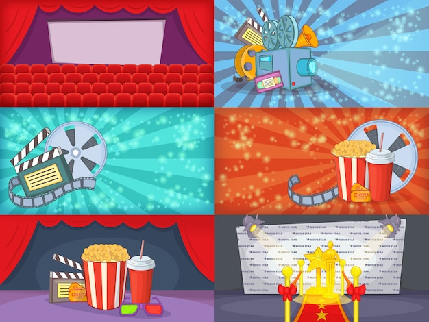 Cinema movie banner set horizontal in cartoon style for any design