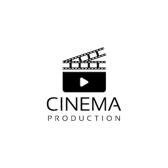 Cinema movie film logo design with clapperboard and filmstrip