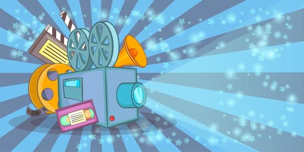 Cinema movie horizontal background blue, cartoon style