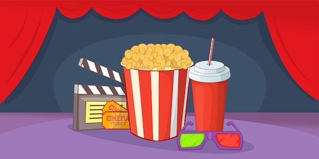 Cinema movie horizontal background, cartoon style