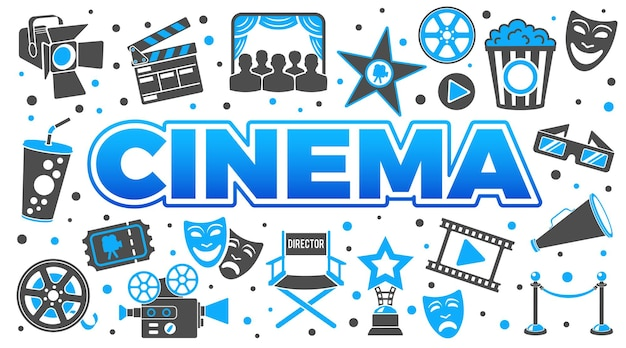 Cinema and movie horizontal banner with two color icons set popcorn, award, clapperboard, tickets and 3d glasses. isolated vector illustration