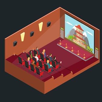 Cinema movie interior auditorium isometric view with public and film