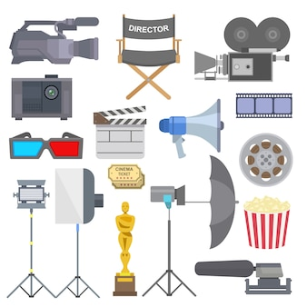 Cinema movie making tv show tools equipment symbols icons  set illustration.