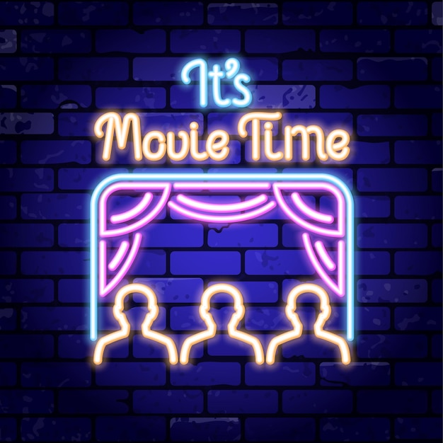 Cinema and movie neon sign board on brick wall