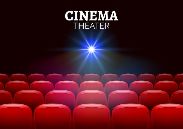 Cinema movie red seats interior. premiere showtime cinema theater background