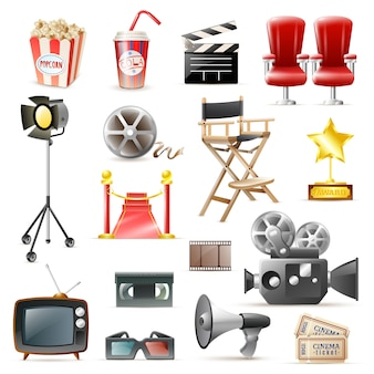 Cinema movie retro icons collection