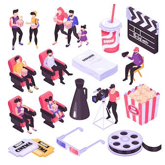 Cinema and movie shooting isometric icons set isolated on white background 3d  illustration