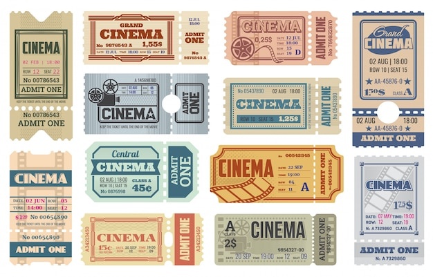 Cinema or movie theater admit one ticket templates
