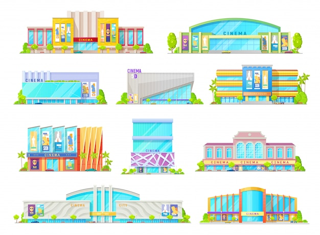 Cinema or movie theater building facade icons