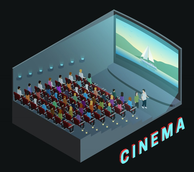 Cinema movie theater indoor auditorium isometric view poster