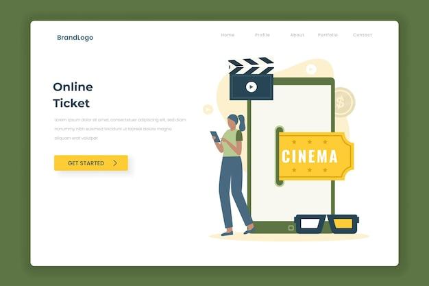 Концепция целевой страницы иллюстрации билета в кино онлайн.