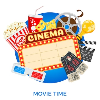 Cinema and movie time banner with flat icons film, popcorn, signboard, 3d glasses, award and tickets. isolated vector illustration poster
