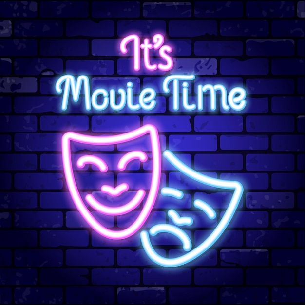 Cinema and movie time neon logo.