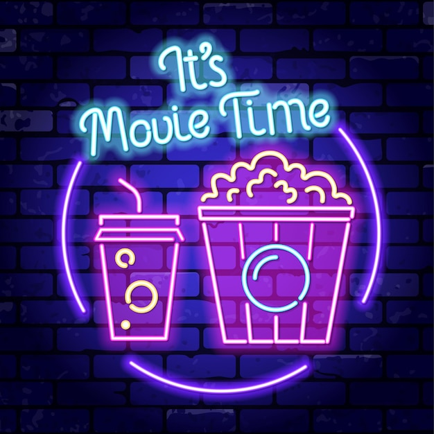 Cinema and movie time neon signboard with popcorn and soda