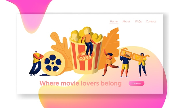 Cinema movie time with popcorn and drink landing page. young people in 3d glasses. woman carry film ticket. award cinematography website or web page. flat cartoon vector illustration
