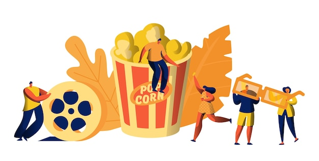 Cinema movie time with popcorn and drink weekend leisure. young people with 3d glasses. man push filmstrip. girl carry ticket on premiere . element of film industry. flat cartoon vector illustration