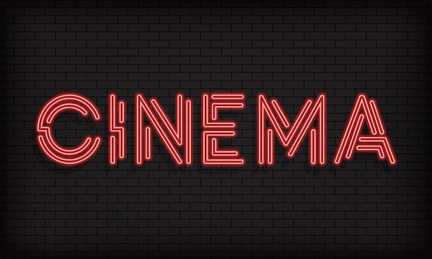 Cinema neon banner. movie industry. vector on isolated white background. eps 10.