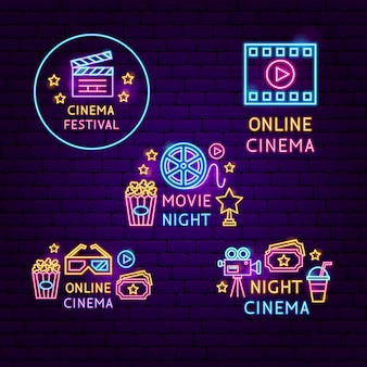 Cinema neon label set. vector illustration of film promotion.