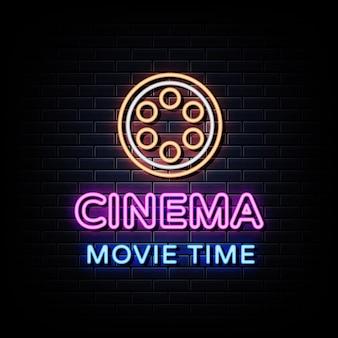 Кино ночная вывеска неоновая реалистичная неоновая вывеска