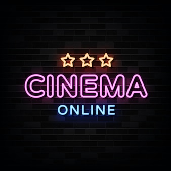 Cinema online neon signs on black wall