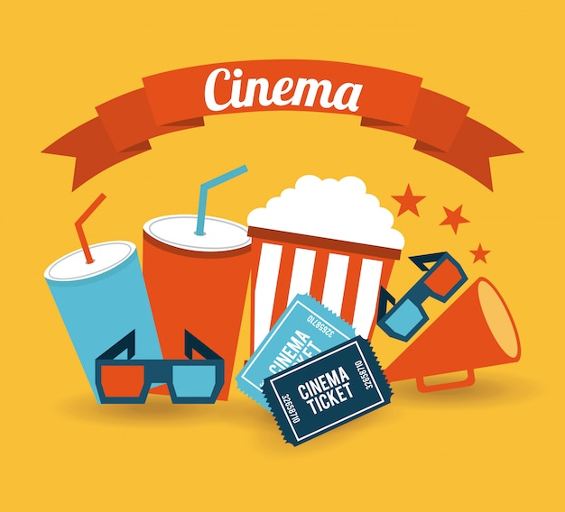 Cinema over orange background