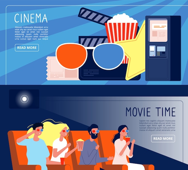 Cinema people banners. happy couple watching films sitting in cinema hall vector concept. illustration cinema movie, banner film entertainment