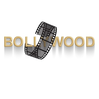 Cinema   poster design template 3d golden text of bollywood decorated with filmstrip