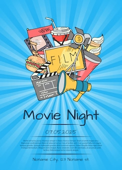 Cinema poster for movie night or festival