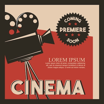 Cinema poster retro style camera film premiere