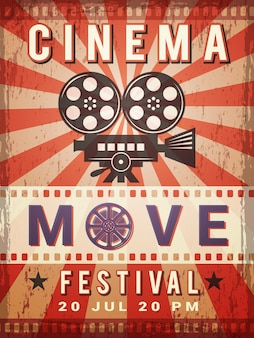 Cinema poster. vintage design template of video and cinema production poster