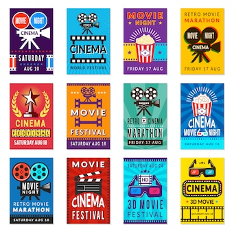 Cinema poster. vintage film retro cards movies placard backgrounds collection