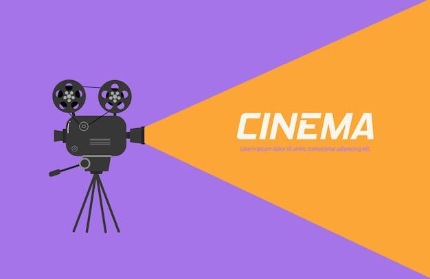 三脚のシネマプロジェクター。色の背景上に分離されてモノクロで古い映画館プロジェクターの手描きのスケッチ。バナー、チラシ、またはポスターのテンプレートです。イラスト、。