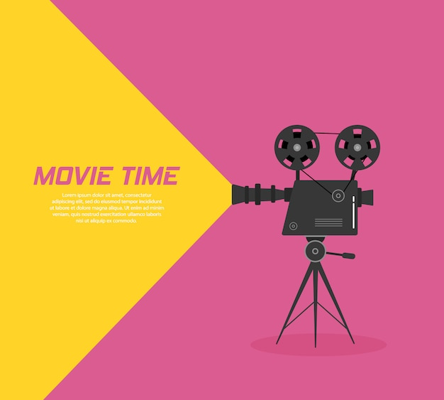 三脚のシネマプロジェクター。色の背景に分離されたモノクロの古い映画プロジェクターの手描きのスケッチ。バナー、チラシ、またはポスターのテンプレートです。