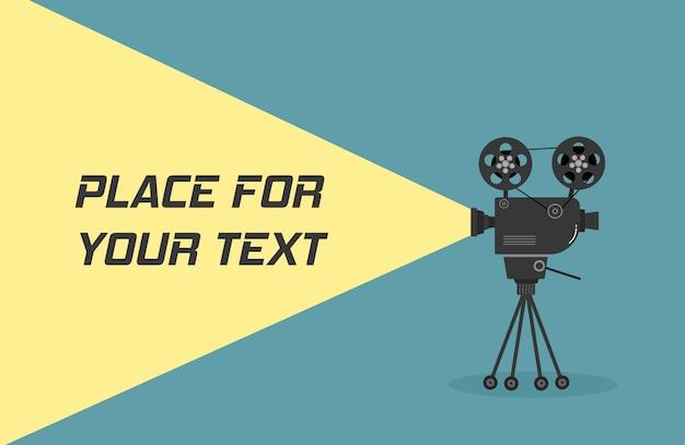 三脚のシネマプロジェクター。色の背景上に分離されてモノクロで古い映画館プロジェクターの手描きのスケッチ。バナー、チラシ、またはポスターのテンプレートです。